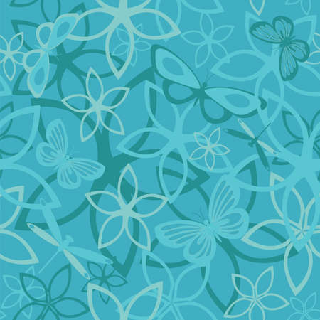 Floral butterfly abstract background, seamless. Vector illustration Vector