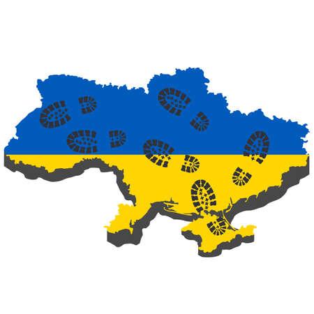 calzado de seguridad: La agresi�n rusa en Ucrania, eventos concepto en 2014. Ilustraci�n vectorial