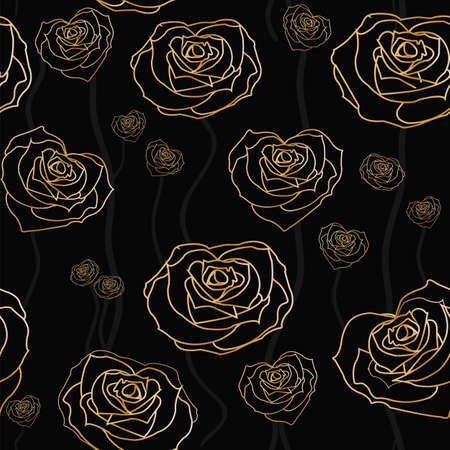 gold textures: Floral rose background, seamless. Vector illustration