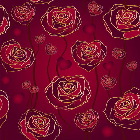 Floral rose background, seamless. Vector illustration Vector