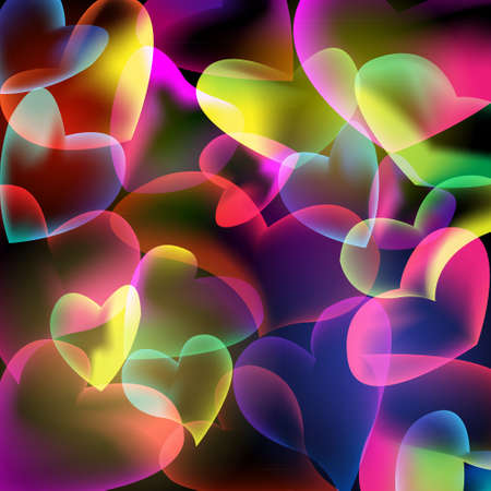 technologys: Bubbles hearts abstract background. Vector illustration