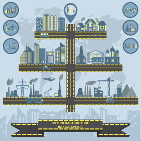 Set of elements infrastructure city, vector infographics. Illustration Vector