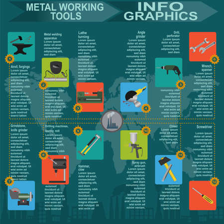 metal working: Set of metal working tools Infographics. Vector illustration