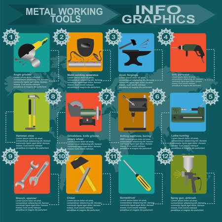 steel mill: Set of metal working tools Infographics. Vector illustration
