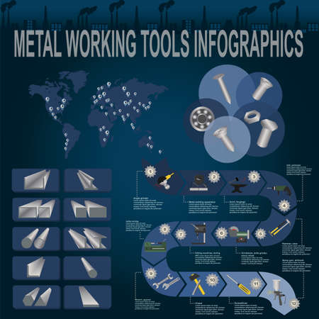 lathe: Set of metal working tools Infographics. Vector illustration