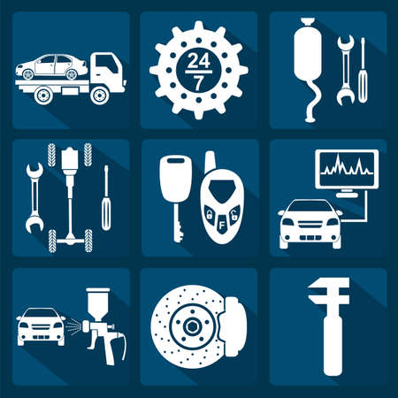Set of car service icons illustration