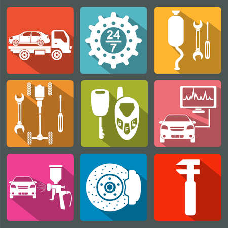 Set of car service icons illustration Vector