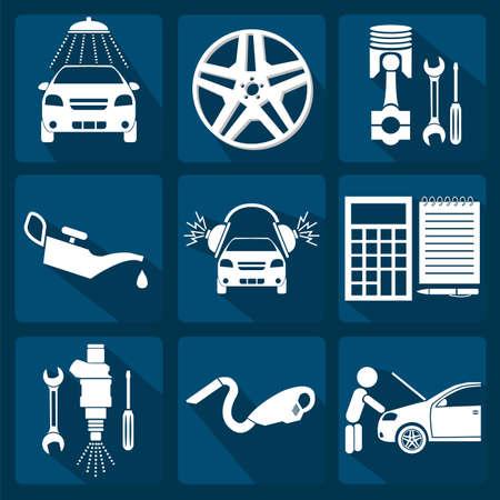 Set van auto service pictogrammen illustratie