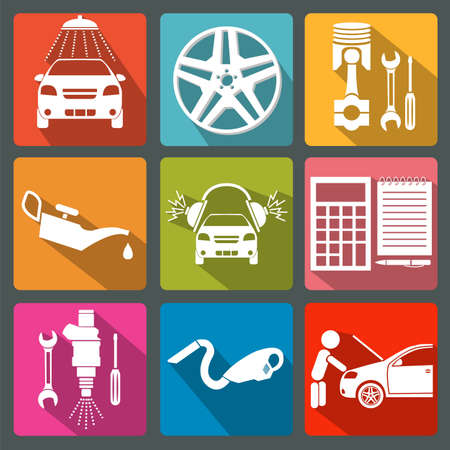 car service: Set of car service icons illustration