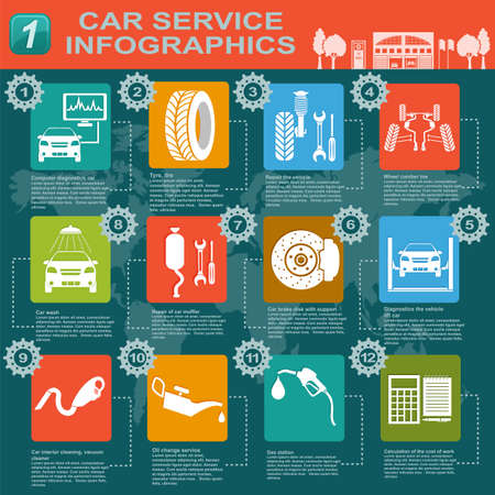 Car service, repair Infographics illustration Stock Vector - 28414998