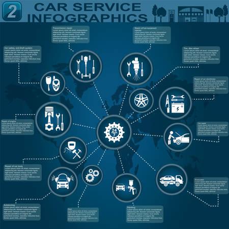 자동차 서비스, 수리 인포 그래픽 일러스트 일러스트
