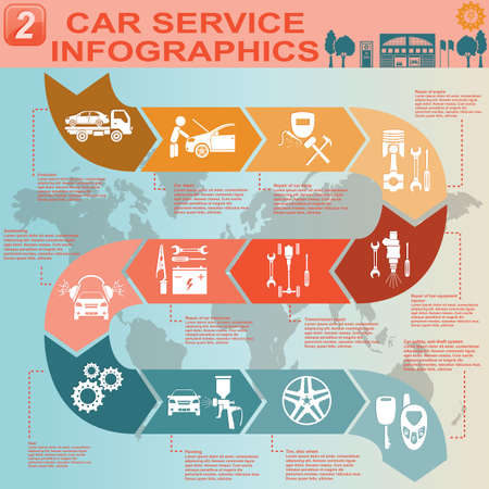 Car service, repair Infographics illustration Vector