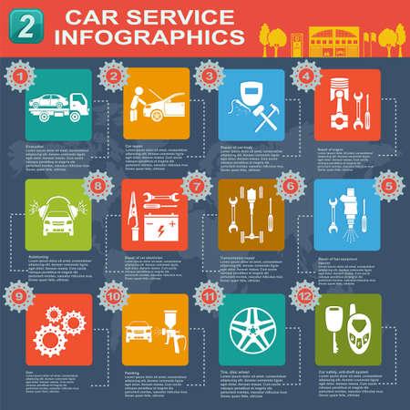 car battery: Car service, repair Infographics illustration
