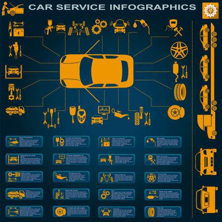 motor coche: Servicio de coche, reparación Infografía ilustración Vectores
