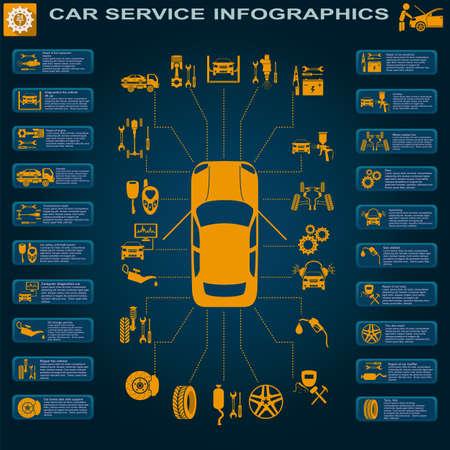 Auto service, reparatie Infographics illustratie