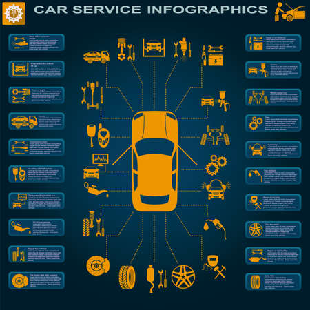 diagnostics: Car service, repair Infographics illustration