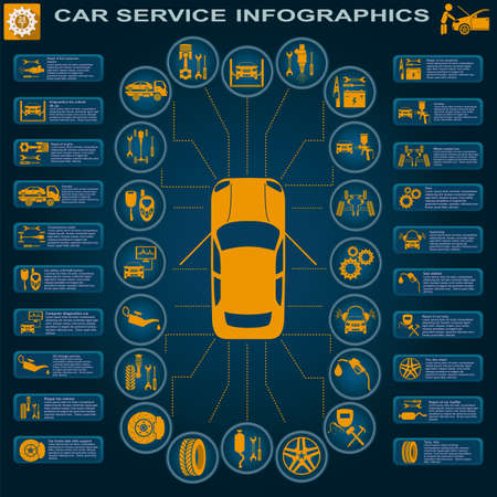 Car Transmission: Car service, repair Infographics illustration