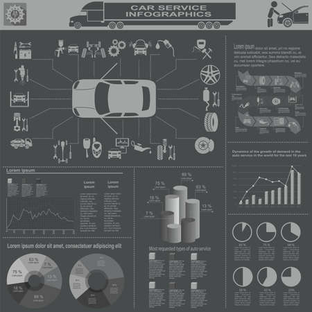 Car service, repair Infographics.  Stock Vector - 29384817