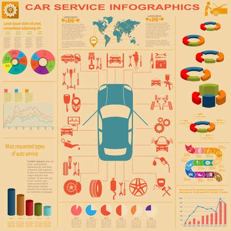 자동차 서비스, 수리 인포 그래픽. 일러스트