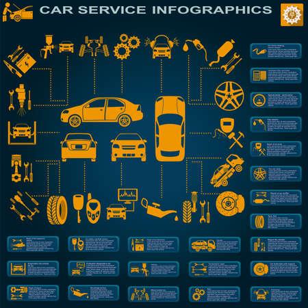 Auto service, reparatie Infographics.
