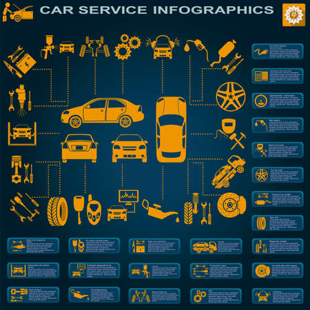 Car service, repair Infographics. Çizim