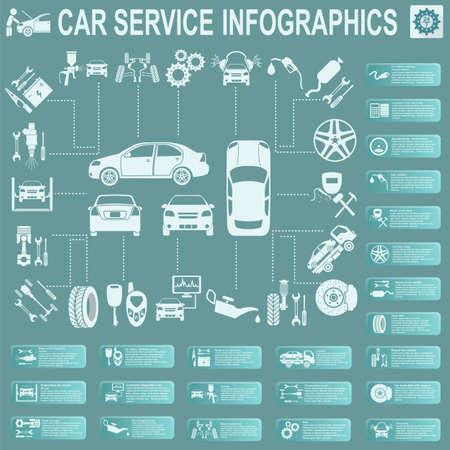 auto mechanic: Car service, repair Infographics.