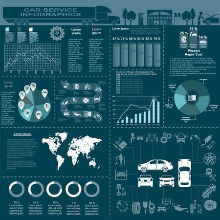 자동차 서비스, 수리 infographics입니다. 일러스트