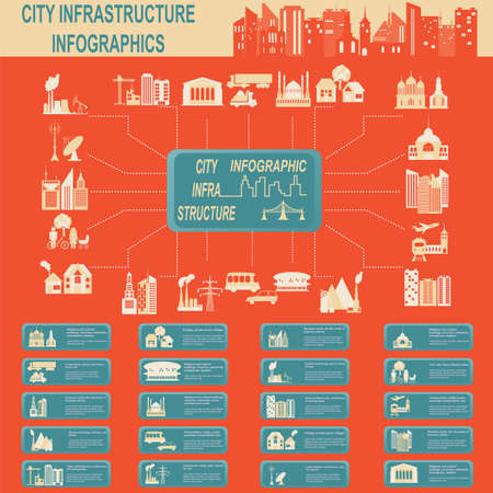 infrastructure buildings: Set of elements infrastructure city, vector infographics. Illustration Illustration