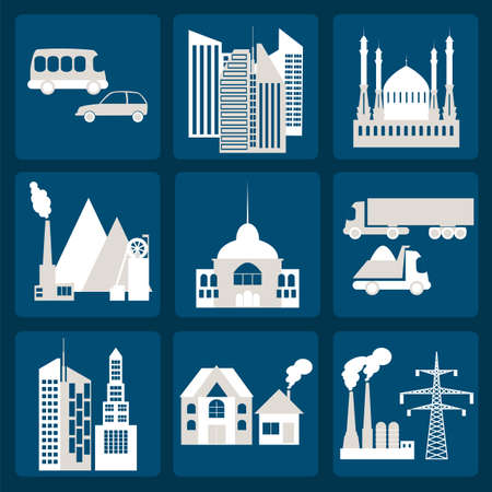 Set of icons infrastructure city Vector
