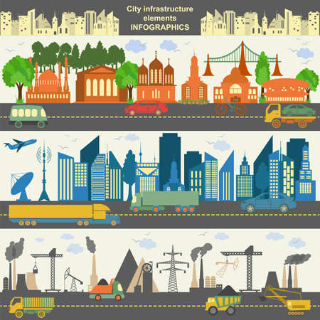 Set of modern city elements for creating your own maps of the city. Vector