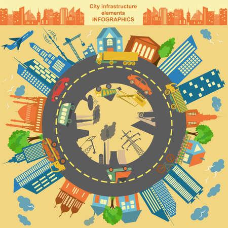 都市の独自のマップを作成するための近代的な都市要素のセットです。