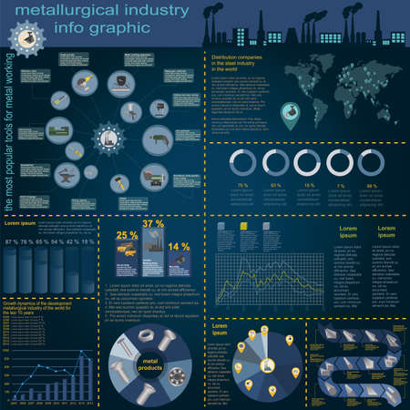 lathe: Set of elements and tools of metallurgical industry for creating infograpics.