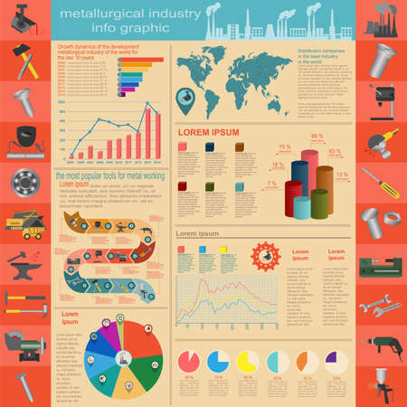 Set of elements and tools of metallurgical industry for creating infograpics. Vector