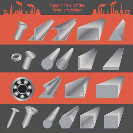 metal working: Set of metallurgy icons, metal working tools, steel profiles for creating your own industry infographics.