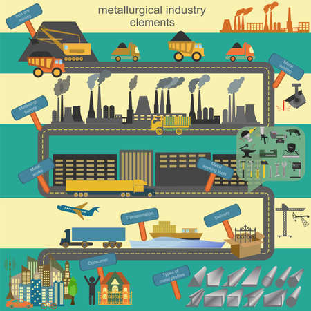 Set of metallurgy icons, metal working tools, steel profiles for creating your own industry infographics. Vector