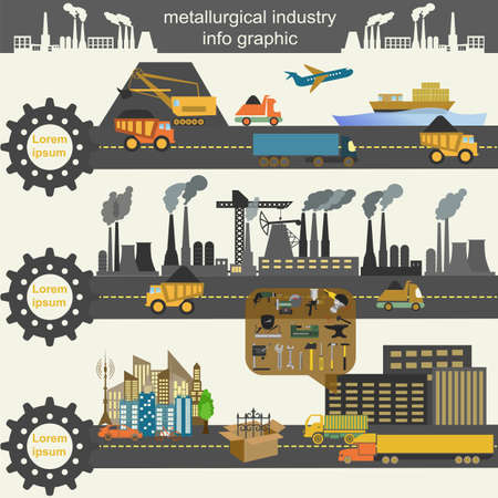 Set of metallurgy icons, metal working tools, steel profiles for creating your own industry infographics.