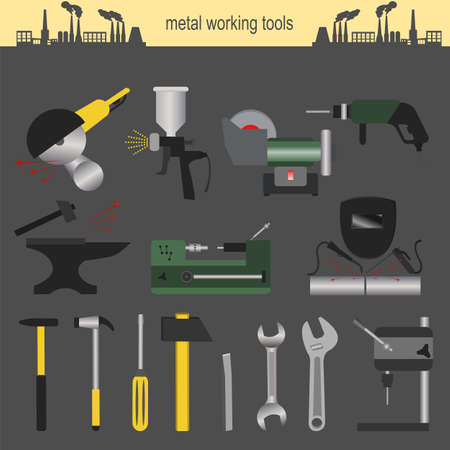 perforator: Set of metallurgy icons, metal working tools, steel profiles for creating your own industry infographics.