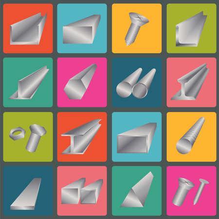 Set of metal profiles icons.