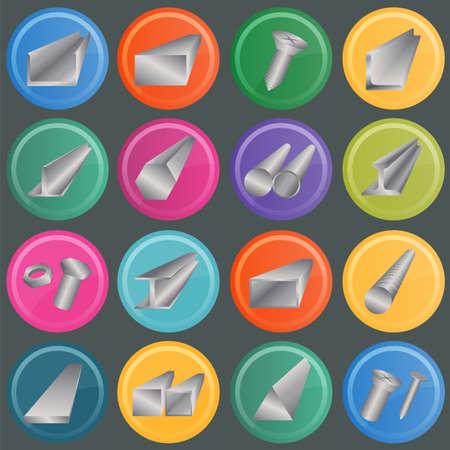 ferrous metals: Set of metal profiles icons.