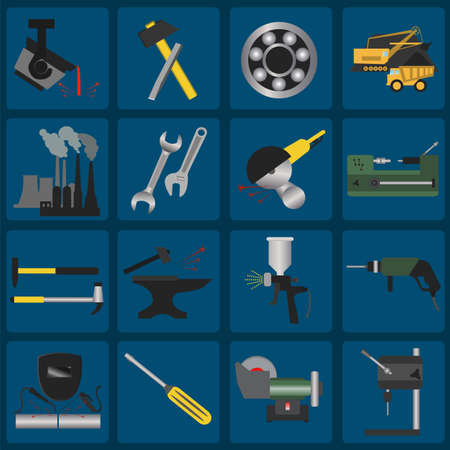 angle grinder: Set of metal working tools icons. Illustration