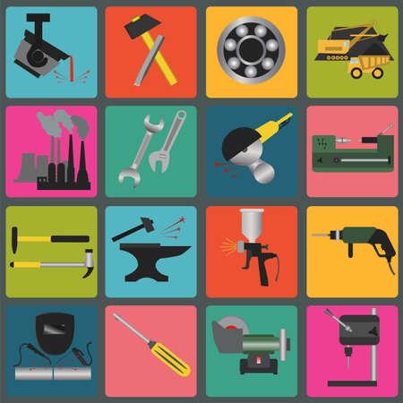 steel mill: Set of metal working tools icons. Illustration