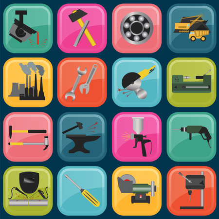 Set of metal working tools icons. Vector