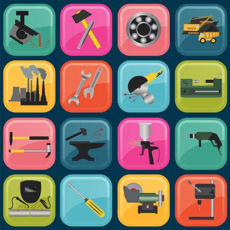 metal working: Set of metal working tools icons. Illustration