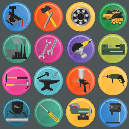 metal working: Set of metal working tools icons.