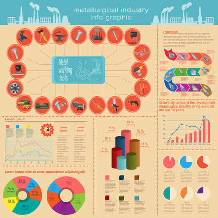 steel mill: Set of elements and tools of metallurgical industry for creating infograpics.