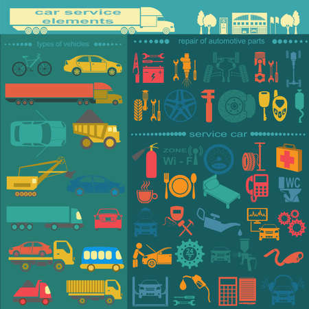 auto service: Set of auto repair service elements for creating your own infographics or maps of the car service station.
