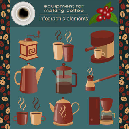 Equipment for making coffee, set infographics elements.  Vector