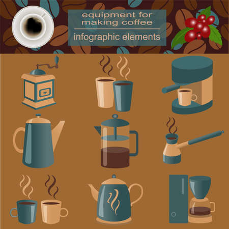 making coffee: Equipment for making coffee, set infographics elements.