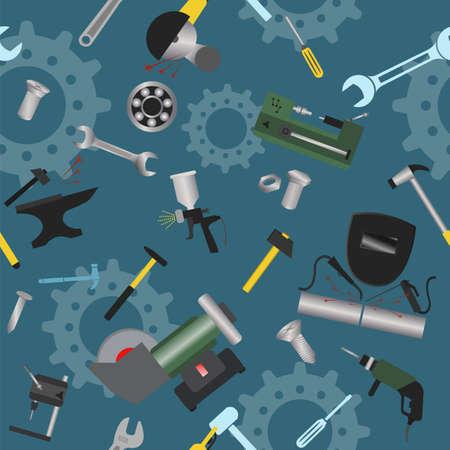 steel mill: Metal work tools background. Seamless, pattern.  Illustration