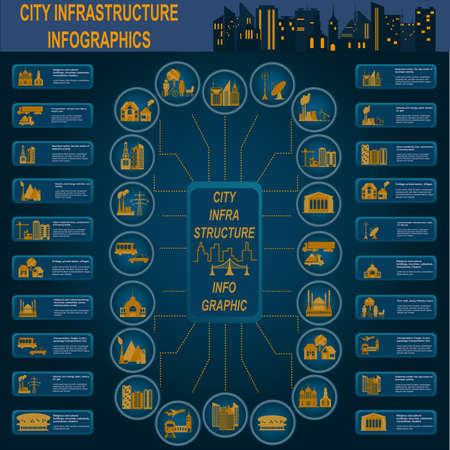 infraestructura: Conjunto de elementos de la infraestructura de la ciudad, infograf�as vectoriales. Ilustraci�n